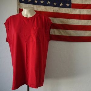 Vintage paper thin unisex thrashed tank top red